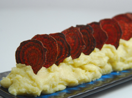 Mashed Potatoes with Beetroot Wafers