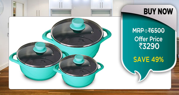 Wonderchef Ceramide Casserole Set of 6Pcs - Aqua Marine