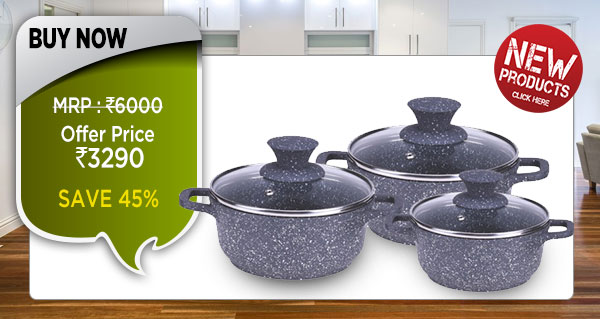 Wonderchef Granite Die-Cast Casserole Set of 6pc (Non-Stick)