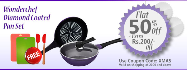 Wonderchef Diamond Coated Pan Set (Induction Base) Freebies: Recipe Booklet, 2 Chopping Mats, Silicone Spoon & Silicone Spatula worth Rs 1500/-
