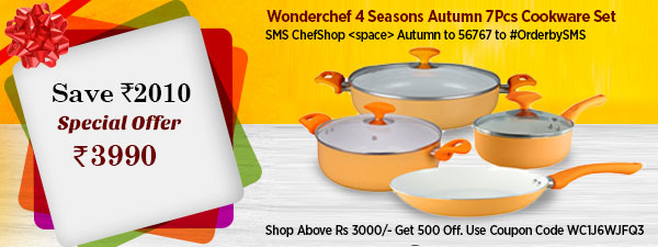 Wonderchef 4 Seasons Autumn 7Pcs Cookware Set Induction Base
