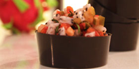 Strawberry and Dragon Fruit Salsa in Chocolate Cups