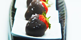 Chocolate Coated Strawberries with Sea Salt
