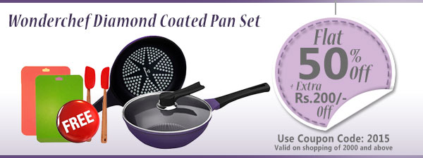 Wonderchef Diamond Coated Pan Set (Induction Base)
