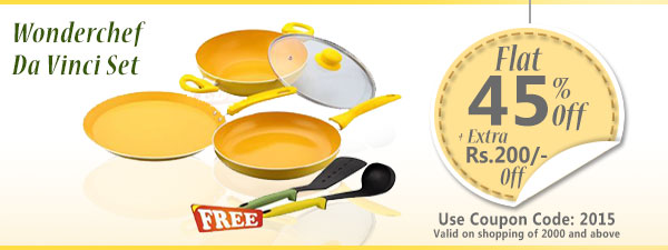 Wonderchef Da Vinci Set with Free Silicone Spoon & Spatula worth 750/-