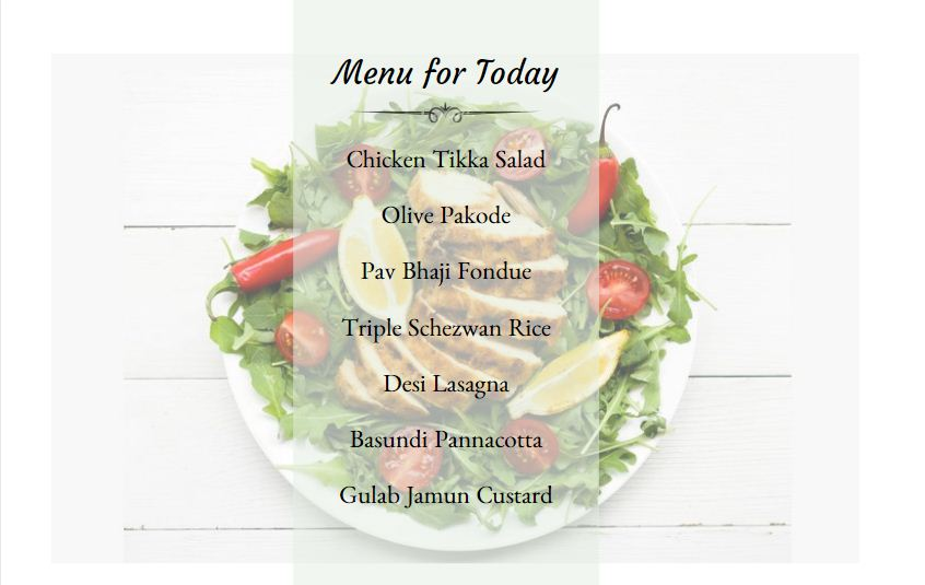 Menu for Today Fun Fusion meal
