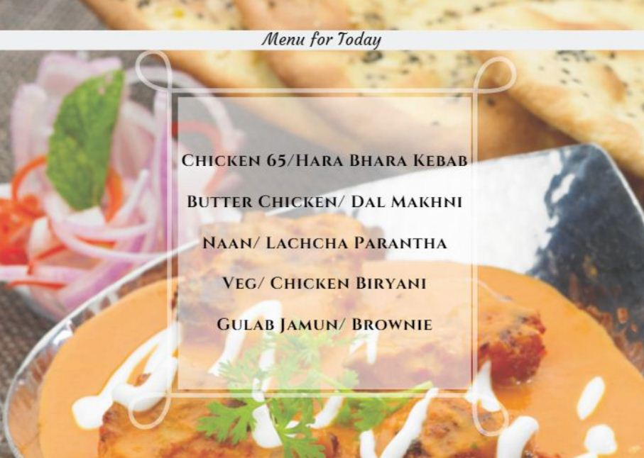 Menu for today Restaurant ka khaana ghar pe