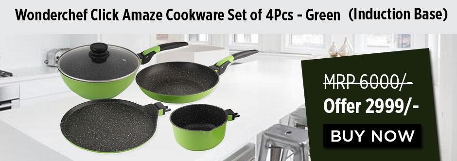 Wonderchef Click Amaze Cookware Set of 4Pcs Green