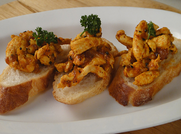 Achari Chicken Bruschetta