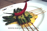 Asparagus With Saffron Chilli Cheese Sauce