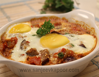 Baked Aubergine and Eggs