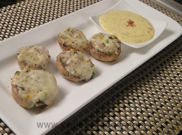 Baked Stuffed Mushrooms with Saffron Mayo
