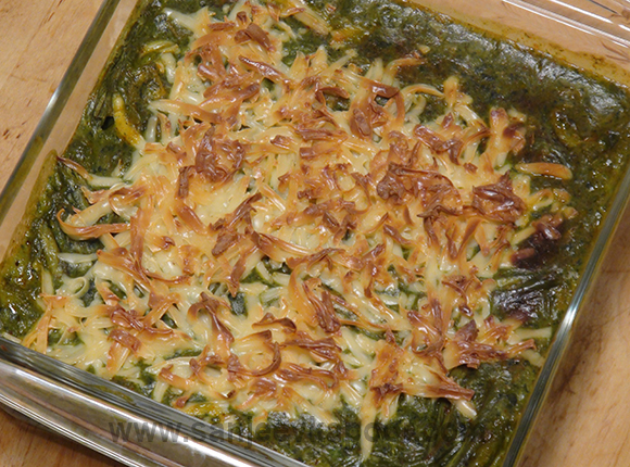 Baked Vegetables in Spinach Saucei