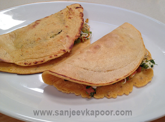 Besan Cheela with Sprouts and Paneer