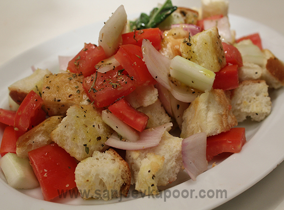 Bread and Mixed Vegetable Salad