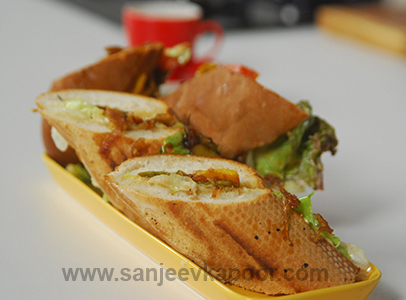 Caramalized Vegetable Sandwich in Footlong