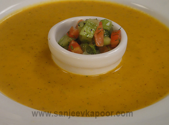 Carrot and Kiwi Soup with Dill Leaves