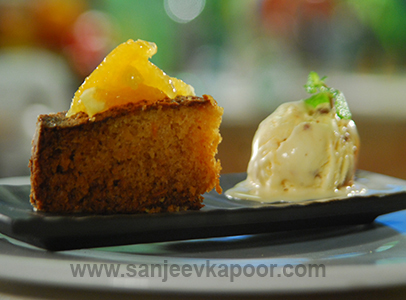 Carrot and Orange Cake with Ice cream