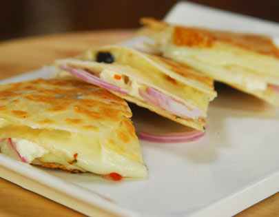 Cheese, Chilli And Olive Quesadillas