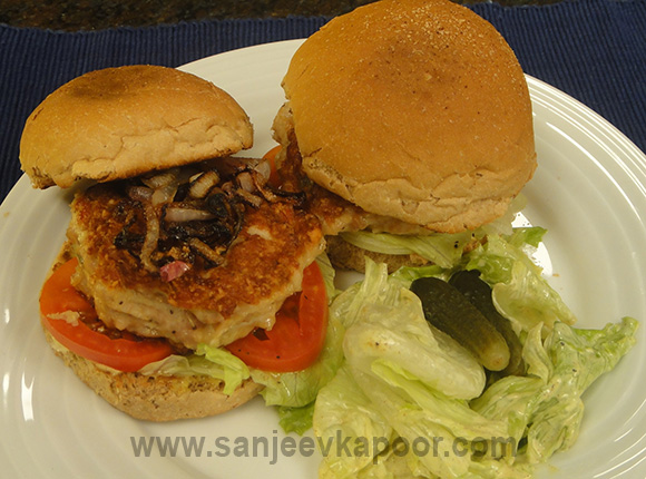 Cheese Stuffed Chicken Burger