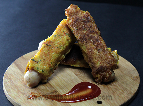 Cheesy Masala Sausage Egg Roll