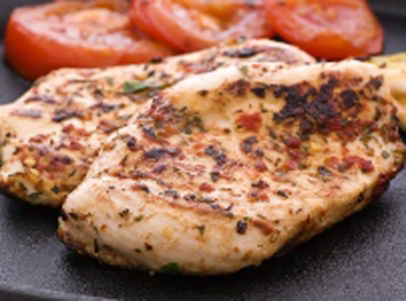 Chicken And Garlic Steak With Red Peppers