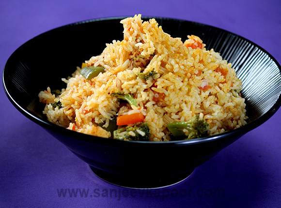 Chicken and Prawn Rice with Peppers