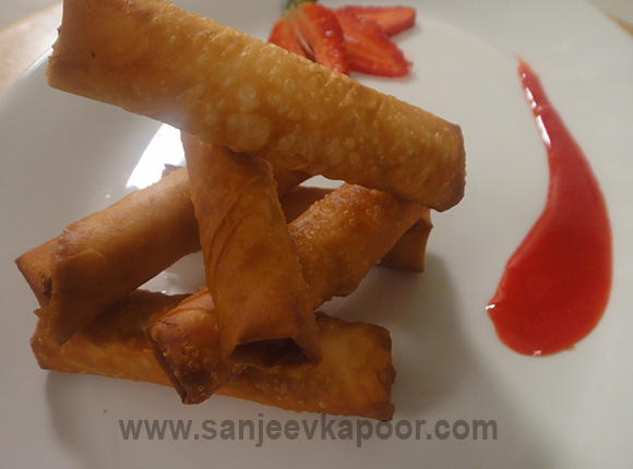 Chocolate Sticks with Strawberry Sauce