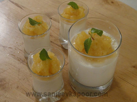 Coconut Pannacotta with Pineapple Coulis