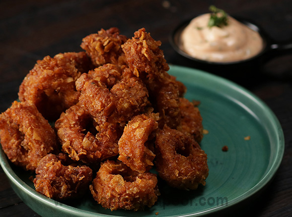 Crispy Squid Rings with Spicy Mayo