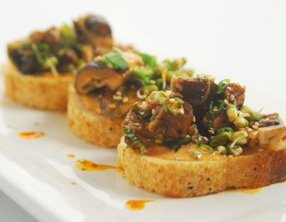 Crostini of Sauteed Mushrooms with Kimchi Mayonnai