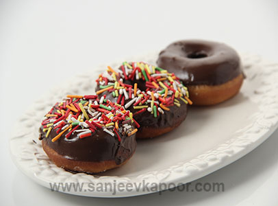 Eggless Chocolate Coated Doughnuts