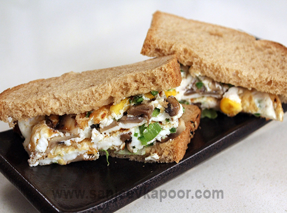 Eggwhite and Vegetable Omelette Sandwich