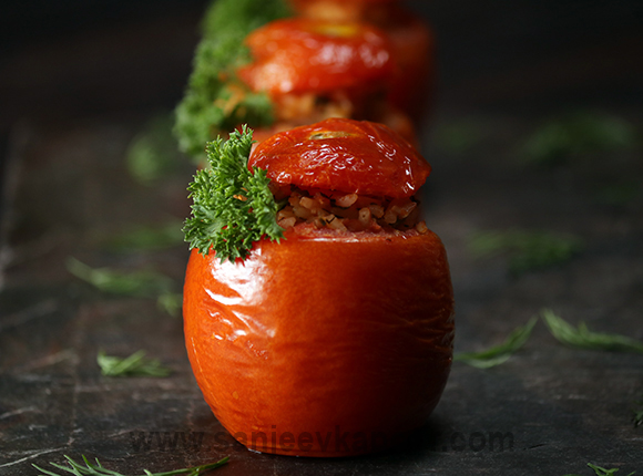 Feta Rice Stuffed Tomatoes