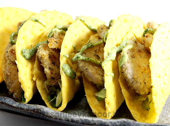 How to make fish tacos with coriander pesto recipe by masterchef how to make fish tacos with coriander pesto recipe by masterchef sanjeev kapoor forumfinder Image collections