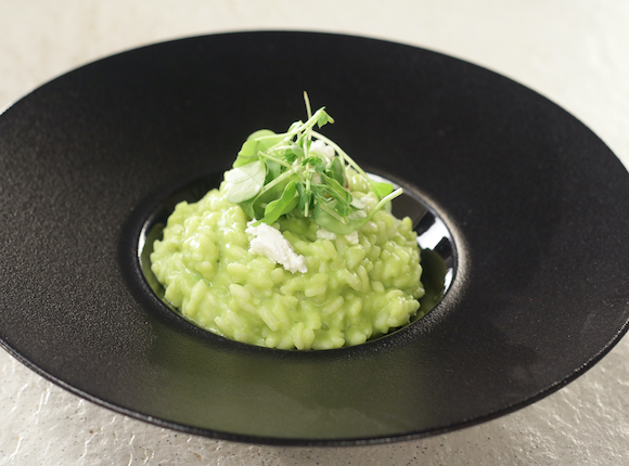 GREEN PEA AND GOAT CHEESE RISOTTO - skk