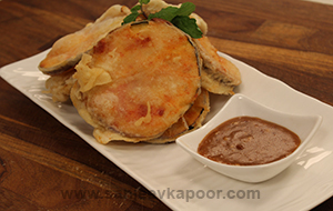 Goan Brinjal Fritters with Tangy Sauce