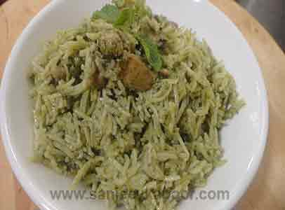 Green Masala Chicken Pulao