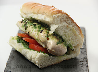 How to make grilled chicken pesto sandwich recipe by masterchef how to make grilled chicken pesto sandwich recipe by masterchef sanjeev kapoor forumfinder Image collections