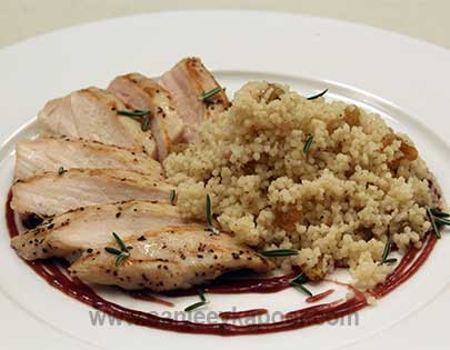 Grilled Chicken with Spiced Couscous and Red Wine