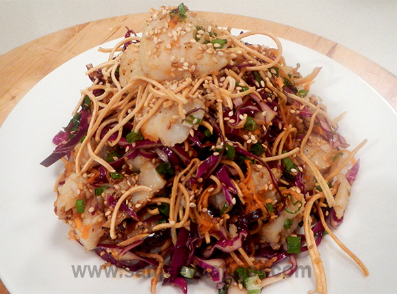 Grilled Fish Crispy Noodles Salad