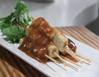 Grilled Paneer with Butter Caramel Sauce