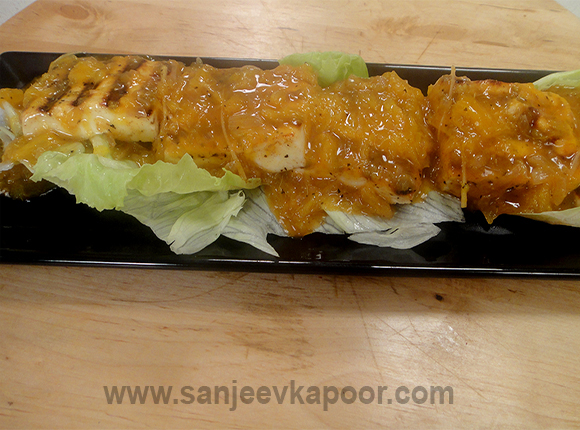 Grilled Paneer with Orange Ginger Sauce