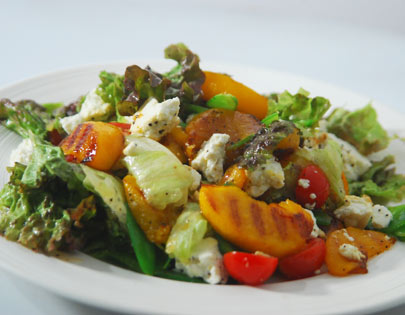 Grilled Peach and Paneer Salad