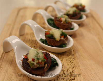 Jalapeno and Pimento Stuffed Mushrooms