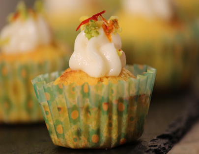Kesar Pista Muffin with Srikhand Frosting