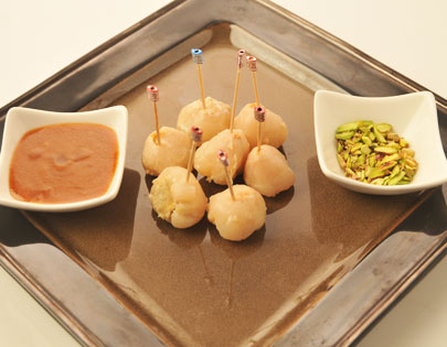 Lychees Stuffed With Kesari Mava