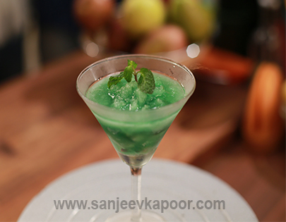 Mint Granita with Pears