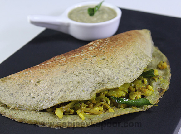 Moong Dosa with Sprout Potato Stuffing