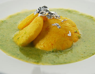 Orange Rasmalai With Pista Coulis